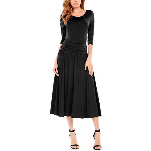 ELESOL Women\'s Half Sleeve Ruched Waist Evening Cocktail Midi Dress a9bVEOS5