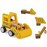 Wooden Construction Vehicles Set - Take Apart Toy - 6 Piece Set - Digger/Bulldozer/Dump Truck - Fun Educational Building…