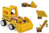 Wooden Construction Vehicles Set - Take Apart Toy - 6 Piece Set - Digger/Bulldozer/Dump Truck - Fun Educational Building Toys For Kids