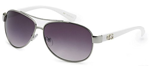 D618 Dg or CG Eyewear Metal Aviator Womens Fashion Sunglasses (CG White) from Unknown
