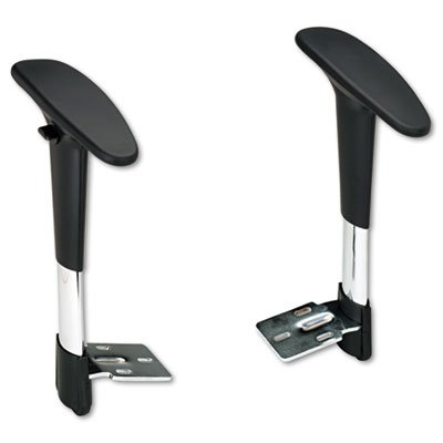 Safco Adjustable T-Pad Arms for Metro Series Extended-Height Chairs, Black/Chrome Office Chair Tpad Arms