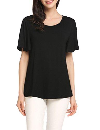 Women's Boat Neck Short Sleeve Blouse (Black/White) - 6