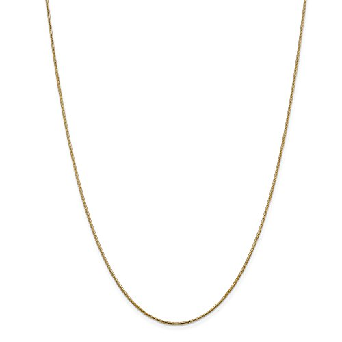 (1mm 14k Yellow Gold Solid Round Snake Chain Necklace, 20 Inch)