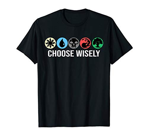 Mana Symbols Gathering Magic - Choose Wisely Blue Red Green T-Shirt