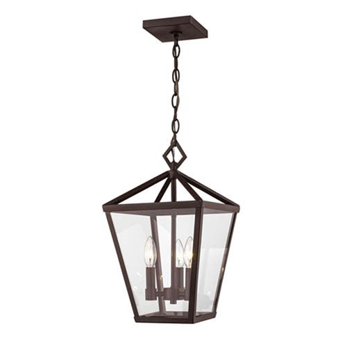 Millennium Lighting Powder Coat Bronze Four-Light Outdoor Hanging Lantern with Clear Glass