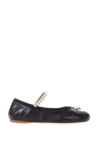 Miu Miu Women's 5F813B3KBCF0002 Black Leather Flats IVyNLyf7J
