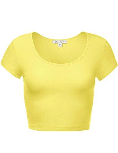 - Luna Flower Women's Scoop Neck Crop Tops - Basic Soft Short Sleeve Top Tee Yellow Medium (GTEW097)