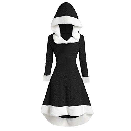 CCOOfhhc Womens Plus Size Wool Overcoat Color Block Faux Fur Hooded Pea Coat Jacket Warm Winter Christmas Party Dresses,M Black