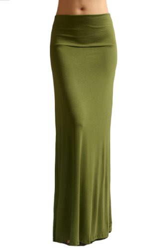 Azules Women'S Rayon Span Maxi Skirt - Army Green L