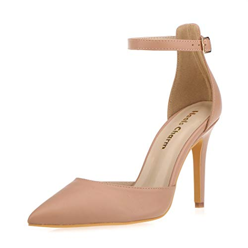 Women's Heel Pumps Stilettos Pointed Toe High Heel Dress Pump Shoes with Ankle Strap Ribbon Nude Size 8