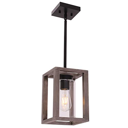 VINLUZ 1 Light Farmhouse Pendant Lighting Black Wood Accents Rustic Square Chandelier with Clear Glass Shade Contemporary Modern Kitchen Island Lights Fixtures Ceiling Hanging Dining Room Hallway
