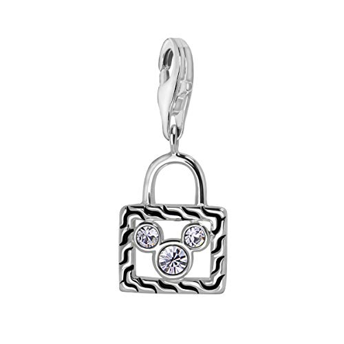 Quiges 925 Sterling Silver White CZ Handbag with Cartoon Mouse Symbol Lobster Clasp Charm Clip on Pendant