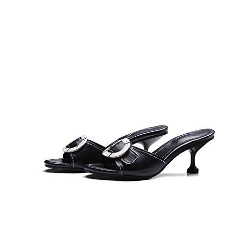 Pente avec sandales à talons hauts à bascule --- Pantoufles de mode féminine féminin Habillement extérieur Sandales noires --- Herringbone fashion sweet Sandals