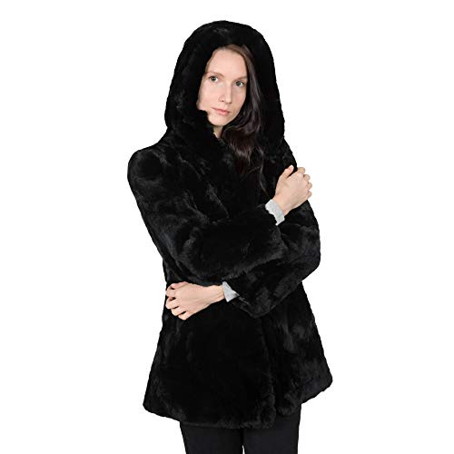 OBURLA Women's Real Rex Rabbit Fur Hooded Jacket | Soft, and Warm Mid-Length Winter Fur Coat with Hood - Black - Small