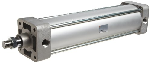 SMC NCDA1B250-0600 Aluminum Air Cylinder, Tie-Rod, Double Acting, Basic Style Mounting, Switch Ready, Air Cushion, 2-1/2