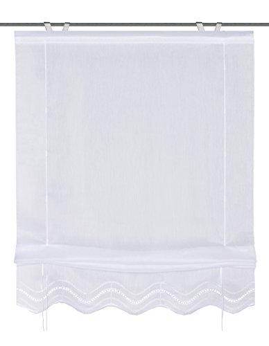 Home fashion 57452-501 Bändchenrollo mit Lochstickerei, 140 x 80 cm, Batist, weiß