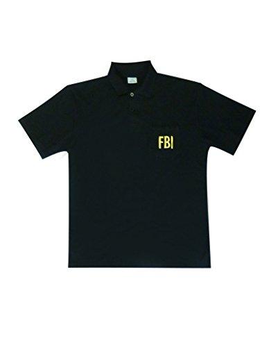 "Schwarzer Polo ""FBI"" - 100% Baumwolle, Schwarz"