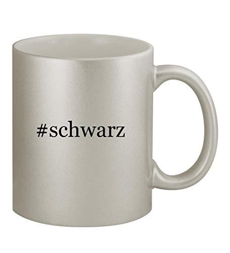 #schwarz - 11oz Hashtag Silver Coffee Mug Cup, Silver (- Schwarz-linse)