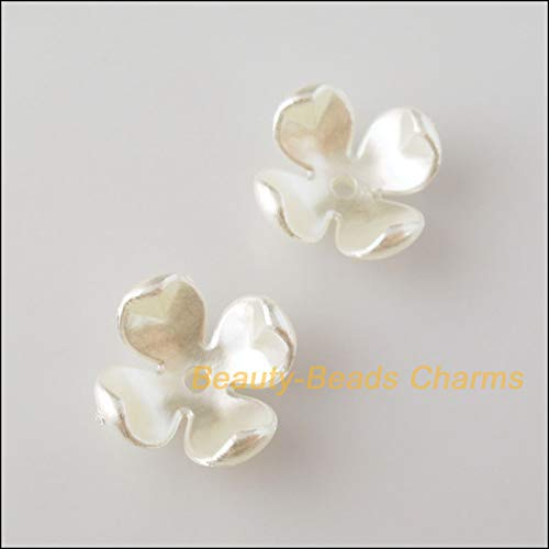 Pukido 35Pcs White Plastic Acrylic Flower Star Spacer End Beads Caps Charms 14mm