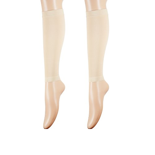 Womens Medical Compression Stockings, Knee High Open Toe Toeless Compression Socks Calf Compression Sleeve Footless Socks For Swelling,Varicose,Veins,Edema, Skin Color, Medium