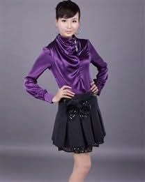 Fashion Rhinestone Decoration Collar Women Long Sleeve Blouses