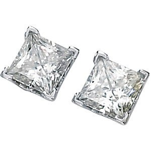 Charles & Colvard Forever Classic Square Moissanite Scroll Earrings, 14k Yellow Gold, 5MM by The Men's Jewelry Store (for HER)