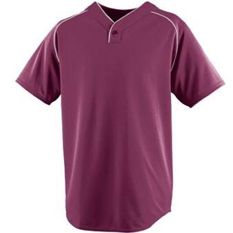 Wicking One-Button Baseball Jersey - Maroon/White - 3XL by Augusta Sports Wear