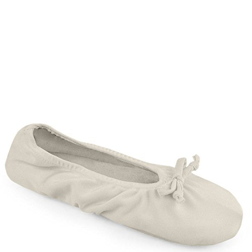 9 LUKS Large MUK Womens X 5 Ballerina 10 Ivory Satin Size Slipper 5 Stretch vawdwzq6