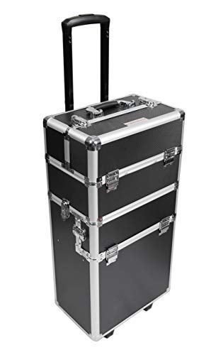 360-Degree Aluminum Rotating Castors Cosmetic Case Trolley Rolling Makeup Train Case Barber Salon Lockable Travel Case, with Sliding Drawers,Removable Dividers Black