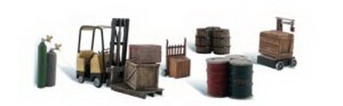 Woodland Scenics Loading Dock Details (Forklift, Crates, Barrels, Wellding Tanks & Hand Cart) HO Scale