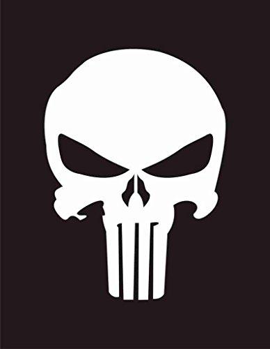 Vinyl Fathead (UR Impressions Punisher Skull Decal Vinyl Sticker Graphics Cars Trucks SUV Vans Walls Windows Laptop White 5.5 X 4.2 Inch URI008)