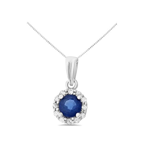 Natural Blue Sapphire Pendant - 0.37CTW 14K White Gold Genuine Natural Blue Sapphire and Diamond Pendant With Square Box Chain Necklace