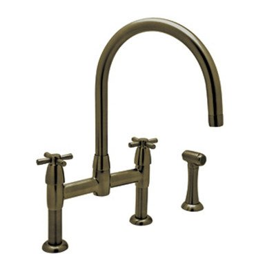 Perrin and Rowe Double Handle Deck Mount Bridge Kitchen Faucet Finish: English Bronze