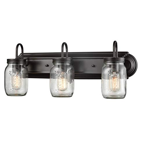 EUL DB3046 Industrial Mason Jar Bathroom Vanity Clear Glass Wall Sconces Oil Rubbed Bronze-3 Light