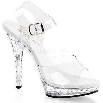 Pleaser Women's Lip-108SDT/C/M Platform Sandal,Clear/Clear,7 M US