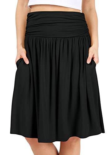 Black Skirts for Women Knee Length High Waisted Black Skirt Flowy Skirt Black Aline Skirt Black Pocket Skirt (Size 2X (US 14-16), - Knee Length Skirt Womens