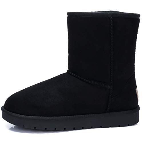Women's Warm Winter Boots Ankle High Classic Vegan Suede Faux Sheepskin Shearling Snow Boots Black,Size 8 ()