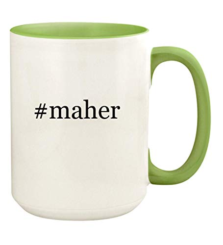 #maher - 15oz Hashtag Ceramic Colored Handle and Inside Coffee Mug Cup, Light Green