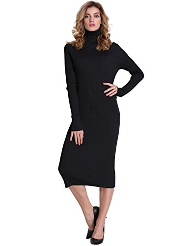 PrettyGuide Women Slim Fit Ribbed Turtleneck Long Sleeve Midi Length Sweater Dress Black S