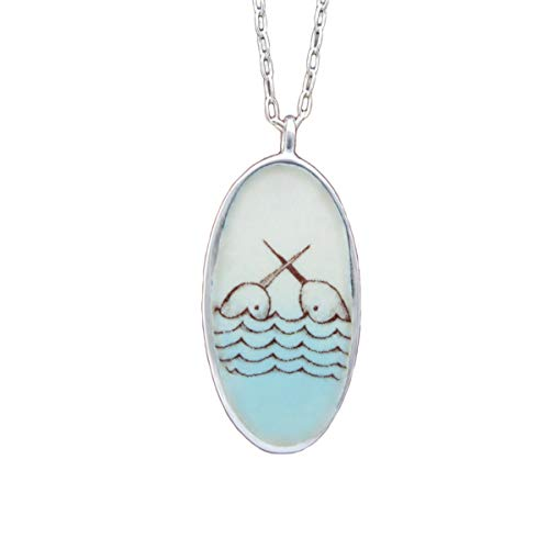 Reversible Enamel and Sterling Silver Narwhal and Deer Necklace on 18
