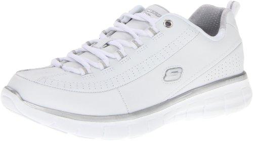 Skechers Sport Women's Synergy Elite Status Training Sneaker,White/Silver Leather,9 M US (Skechers Rubber Shoes)