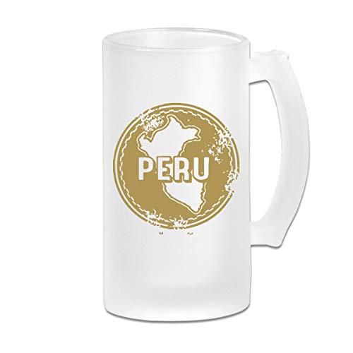 (Peru Stamp Clipart Frosted Glass Stein Beer Mug - Personalized Custom Pub Mug - 16 Oz Beverage Mug - Gift For Your Favorite Beer Drinker)