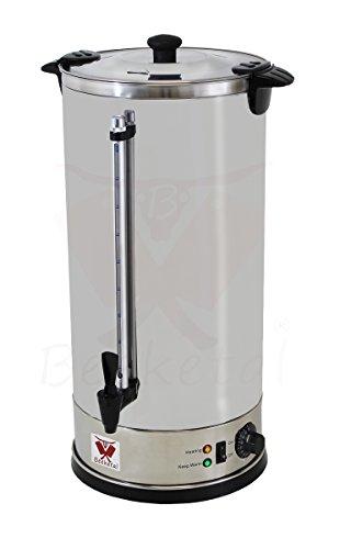 Beeketal 'BGWK20' Gastro Glühweinkocher 20 Liter Volumen mit Füllstandskala, Zapfhahn und stufenlos regelbarem Thermostat (30-110 °C), Profi Edelstahl Wasserkocher mit 3000 Watt Leistung