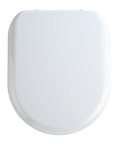WENKO 18901100 Premium WC-Sitz Madeira - Absenkautomatik, rostfreie Fix-Clip Hygiene Edelstahlbefestigung, antibakteriell, Kunststoff - Duroplast, 37 x 44 cm, Weiß