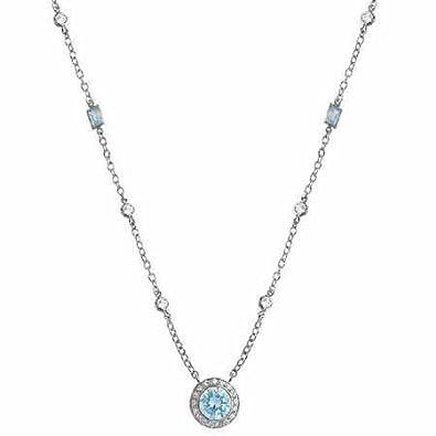bda6b5be558c Sterling Silver Diamond and Aquamarine cz Rolo Link Necklace  Amazon.co.uk   Jewellery
