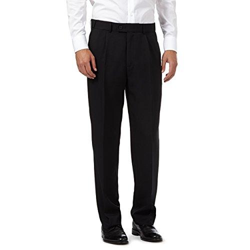 """Para hombre calidad formal elegante y Casual pantalones de trabajo casa/oficina 32–60""""Big tamaños negro"""