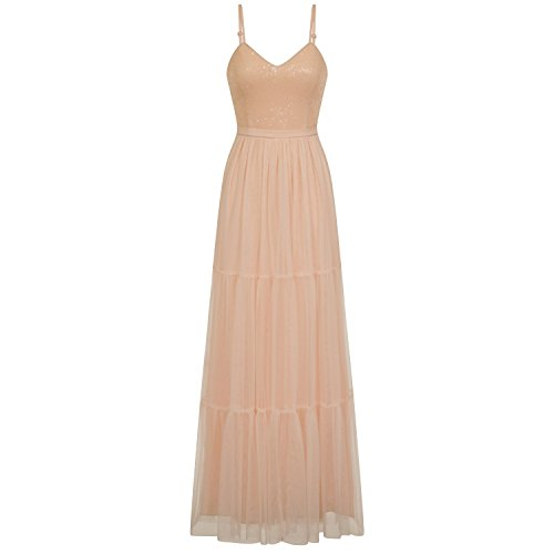 Little Mistress Womens/Ladies Nude Tulle Maxi Dress (8) (Nude) at Amazon Womens Clothing store: