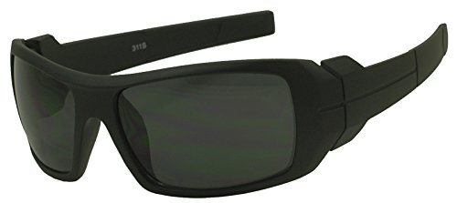 Sunglass Stop - Mens Oversize Wrap Sports Sunglasses w/ Dark Black Lenses (Rubber Black)