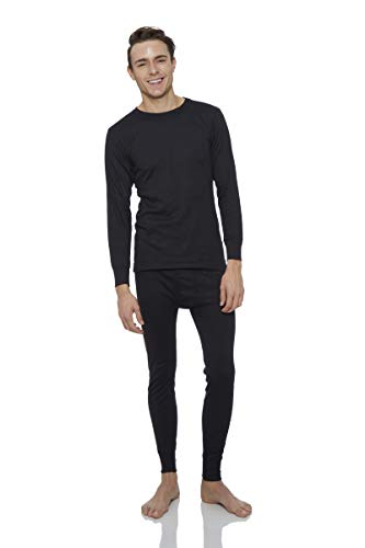 - Rocky Thermal Underwear for men Top & Bottom Set Long John Ultra Soft Smooth Knit (Large, Black)