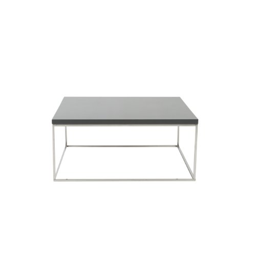 Euro Style Teresa Square Lacquer Top Coffee Table, Gray with Polished Stainless Steel